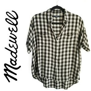 MADEWELL FLANNEL short sleeve black checkered top